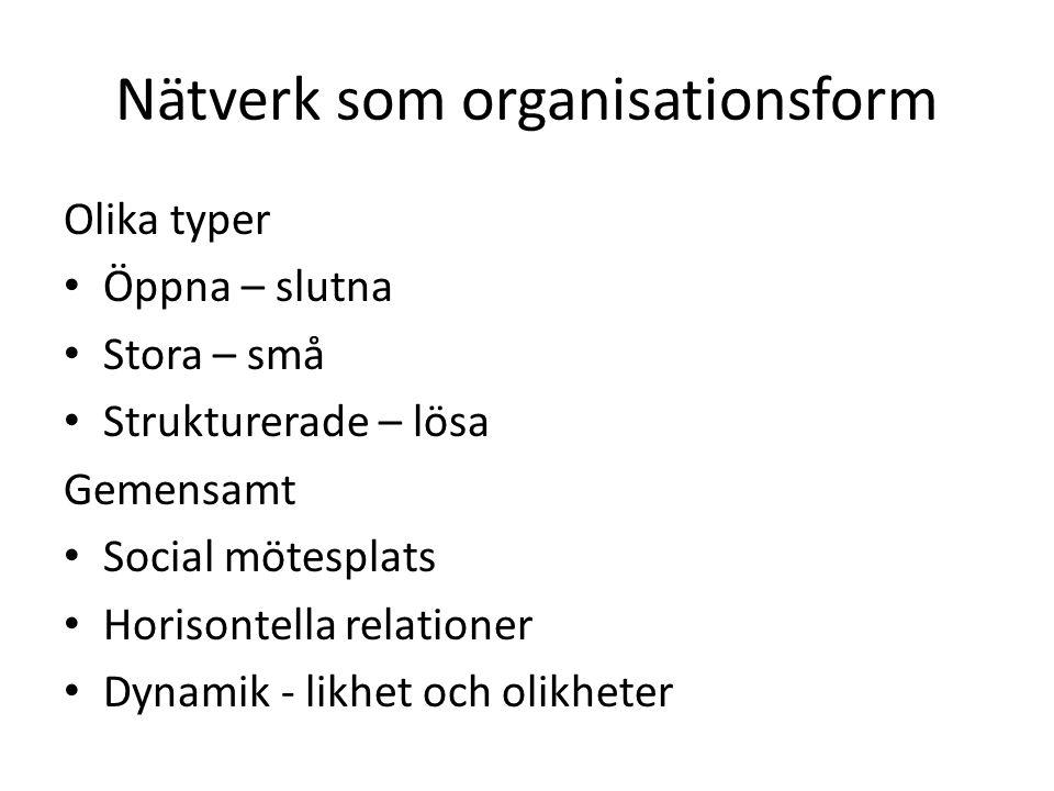 Nätverk som organisationsform Olika typer • Öppna – slutna • Stora – små • Strukturerade – lösa Gemensamt • Social mötesplats • Horisontella relatione