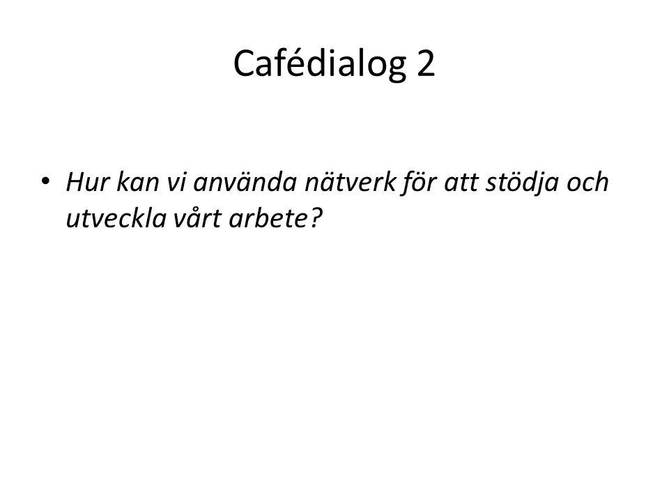 Cafédialog 2 • Hur kan vi använda nätverk för att stödja och utveckla vårt arbete?