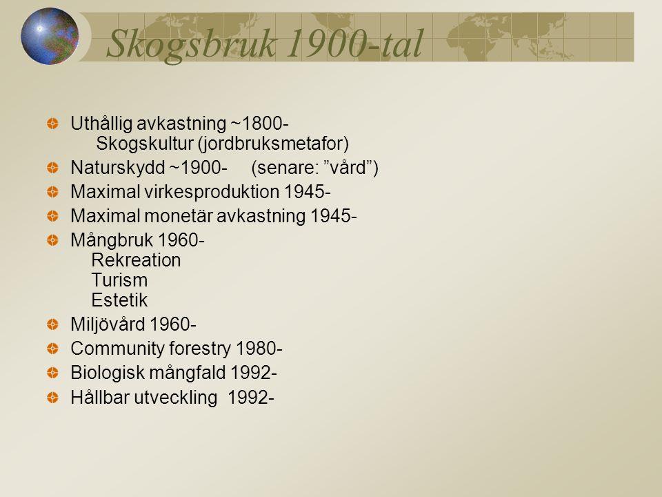 Skogsbruk 1900-tal Uthållig avkastning ~1800- Skogskultur (jordbruksmetafor) Naturskydd ~1900- (senare: vård ) Maximal virkesproduktion 1945- Maximal monetär avkastning 1945- Mångbruk 1960- Rekreation Turism Estetik Miljövård 1960- Community forestry 1980- Biologisk mångfald 1992- Hållbar utveckling 1992-