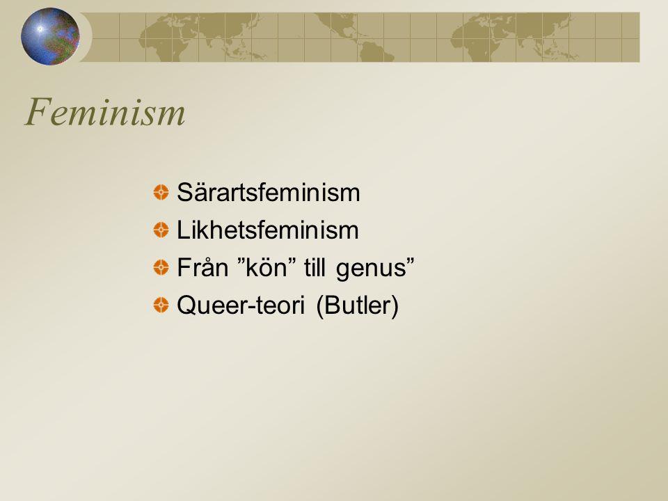 Feminism Särartsfeminism Likhetsfeminism Från kön till genus Queer-teori (Butler)