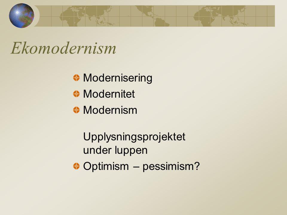 Ekomodernism Modernisering Modernitet Modernism Upplysningsprojektet under luppen Optimism – pessimism?