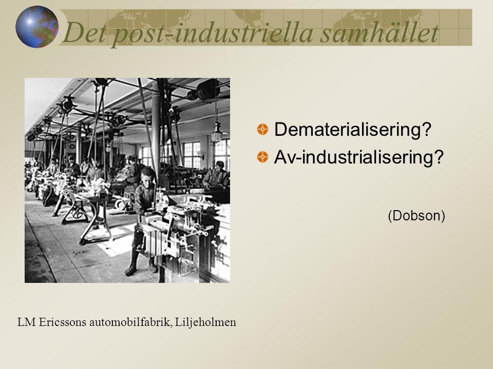 Det post-industriella samhället Dematerialisering.