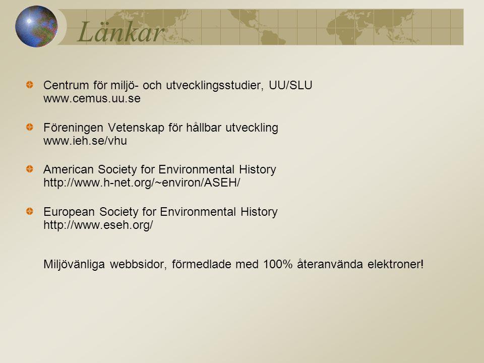 Länkar Centrum för miljö- och utvecklingsstudier, UU/SLU www.cemus.uu.se Föreningen Vetenskap för hållbar utveckling www.ieh.se/vhu American Society for Environmental History http://www.h-net.org/~environ/ASEH/ European Society for Environmental History http://www.eseh.org/ Miljövänliga webbsidor, förmedlade med 100% återanvända elektroner!
