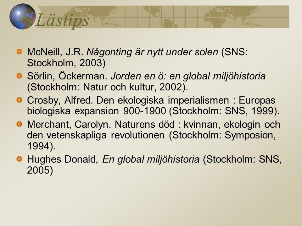 Lästips McNeill, J.R.Någonting är nytt under solen (SNS: Stockholm, 2003) Sörlin, Öckerman.