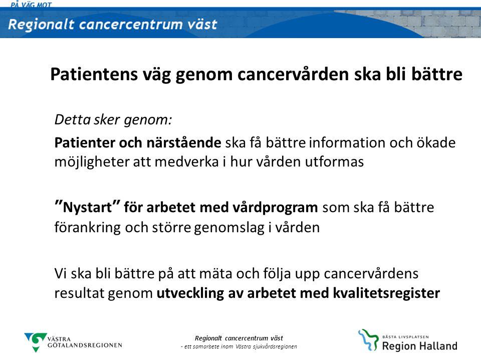Regionalt cancercentrum väst - ett samarbete inom Västra sjukvårdsregionen Detta sker genom: Utveckling av 25 patient- och stödprocesser i cancervården: • Bästa möjliga vård ska ges i hela regionen • Förebyggande insatser • Kortare väntetider • Bättre samarbete • Kompetensförsörjning • Arbetsfördelning Patientens väg genom cancervården ska bli bättre