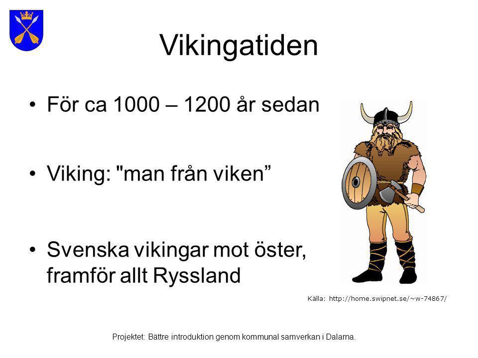 •Härjningståg •Handelsresor •Runor Vikingatiden Källa: http://home.swipnet.se/~w-74867/ Projektet: Bättre introduktion genom kommunal samverkan i Dalarna.