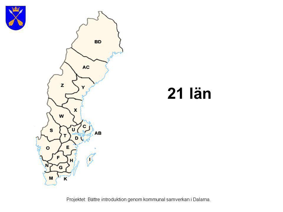 290 kommuner Kommun: Från latinska ordet Commu'nis (Gemensam, allmän, offentlig) Projektet: Bättre introduktion genom kommunal samverkan i Dalarna.
