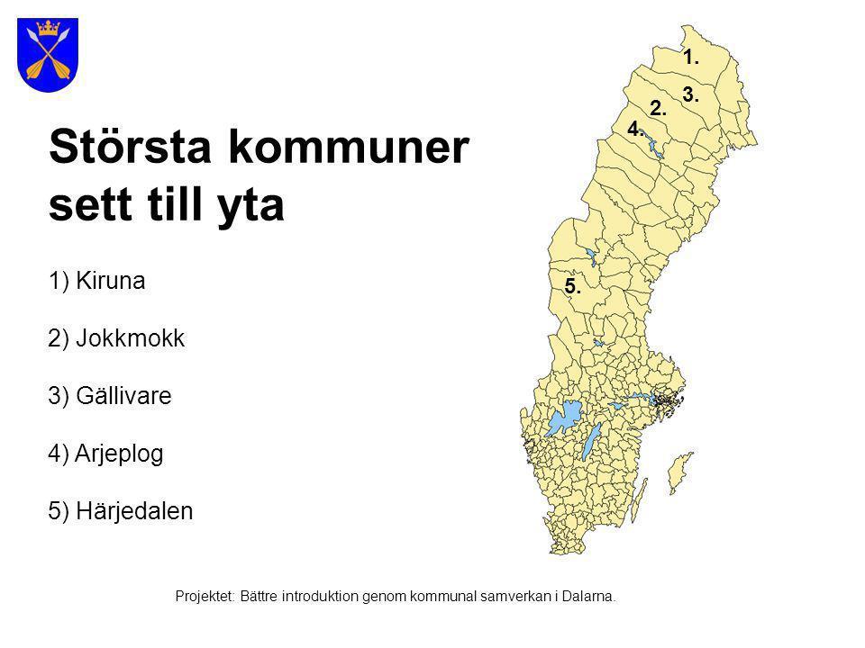 Huvudstad Stockholm Större städer i storleksordning/befolkning 1.Stockholm (1 252 020 inv.) 2.Göteborg (510 492 inv.) 3.Malmö (258 020 inv.) 4.Uppsala (128 409 inv.) 5.Västerås (107 005 inv.) 1.