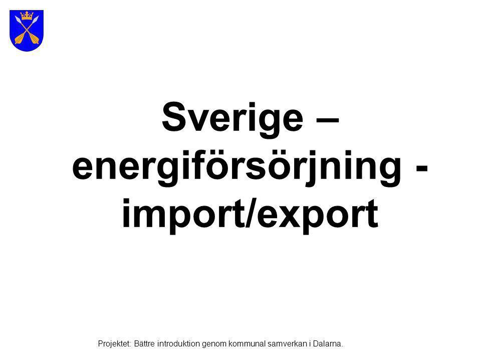 Energiförsörjning VattenkraftKärnkraft (olja, kol och vindkraft) Foto: bild.edu.stockholm Projektet: Bättre introduktion genom kommunal samverkan i Dalarna.