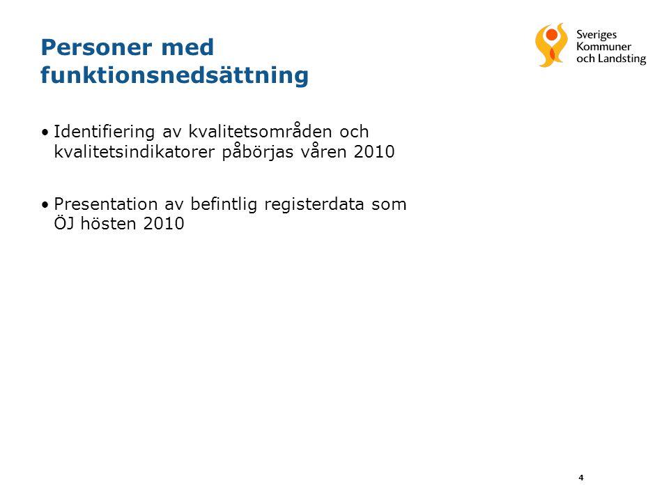 Personer med funktionsnedsättning •Identifiering av kvalitetsområden och kvalitetsindikatorer påbörjas våren 2010 •Presentation av befintlig registerdata som ÖJ hösten 2010 4