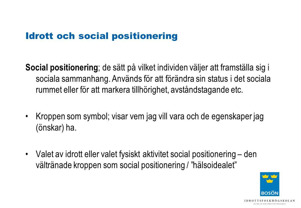 Idrott och social positionering Social positionering ; de sätt på vilket individen väljer att framställa sig i sociala sammanhang. Används för att för