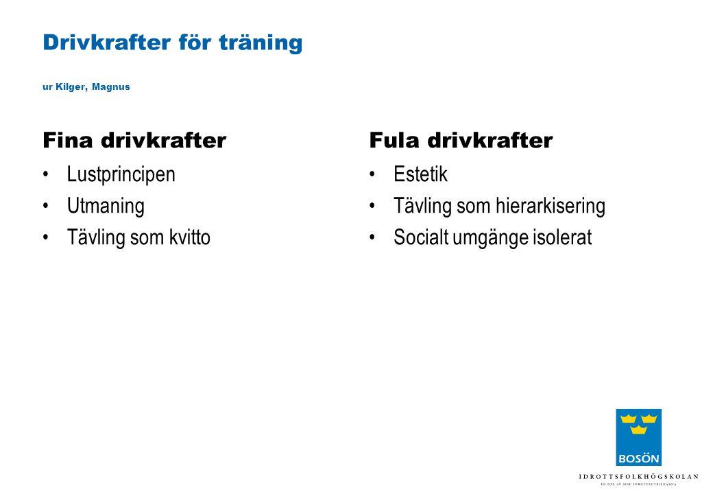 Drivkrafter för träning ur Kilger, Magnus Fina drivkrafter •Lustprincipen •Utmaning •Tävling som kvitto Fula drivkrafter •Estetik •Tävling som hierark