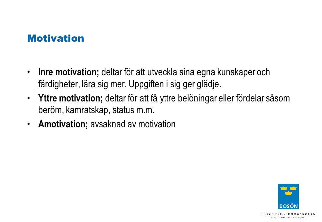 Motivation • Inre motivation; deltar för att utveckla sina egna kunskaper och färdigheter, lära sig mer. Uppgiften i sig ger glädje. • Yttre motivatio