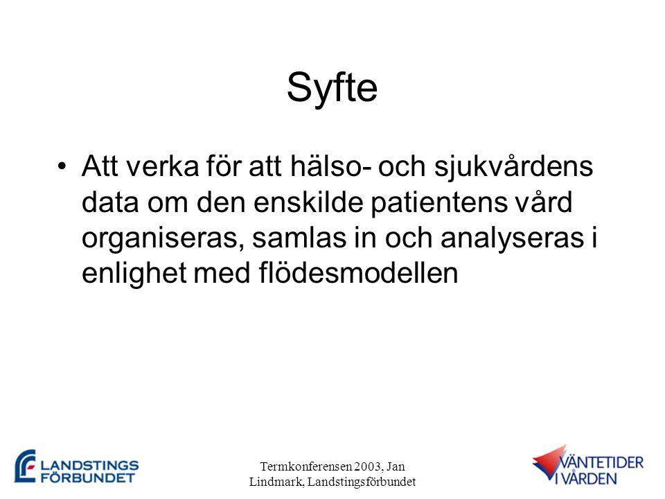 Termkonferensen 2003, Jan Lindmark, Landstingsförbundet Syfte •Att verka för att hälso- och sjukvårdens data om den enskilde patientens vård organiseras, samlas in och analyseras i enlighet med flödesmodellen