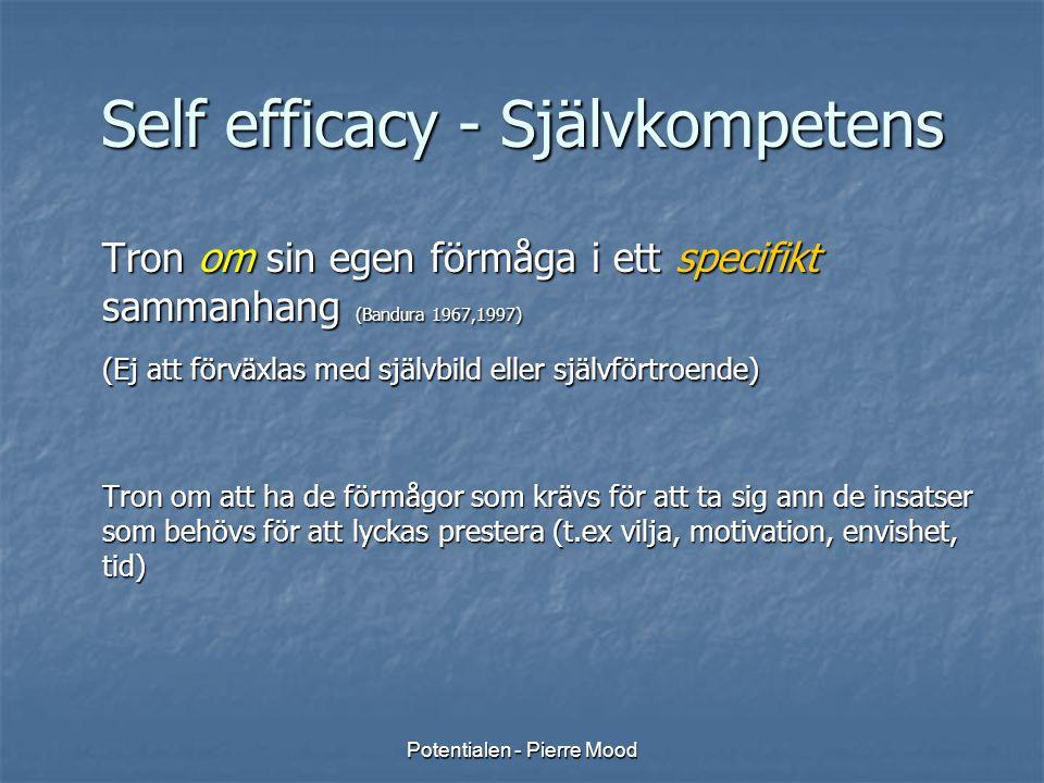 Potentialen - Pierre Mood Self efficacy - Självkompetens Tron om sin egen förmåga i ett specifikt sammanhang (Bandura 1967,1997) (Ej att förväxlas med