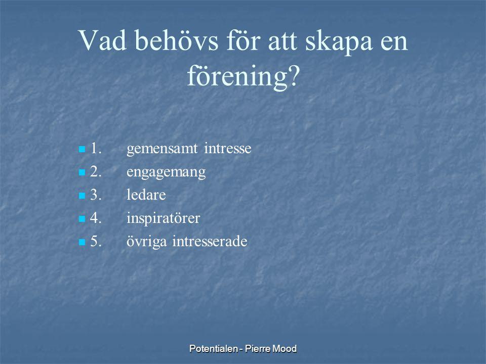 Potentialen - Pierre Mood Vad behövs för att skapa en förening?   1.gemensamt intresse   2.engagemang   3.ledare   4.inspiratörer   5.övriga
