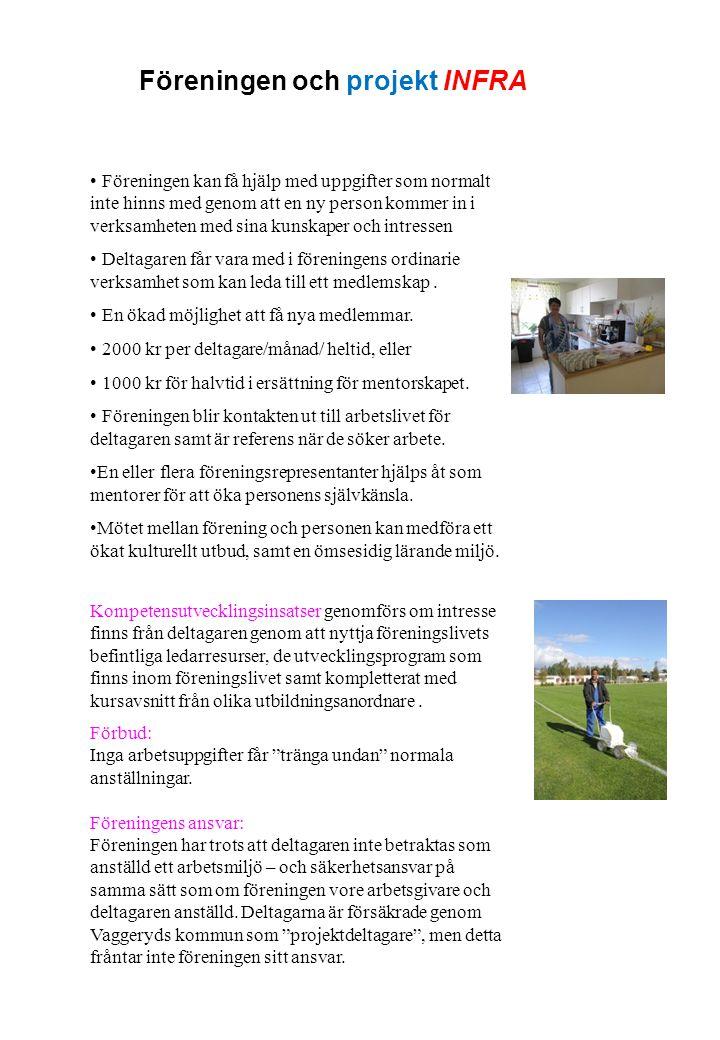 Projekt INFRA praktik på föreningar i Gislaved, Gnosjö, Vaggeryd och Värnamo kommuner Prata med din handläggare om projekt INFRA Din handläggare kontaktar oss