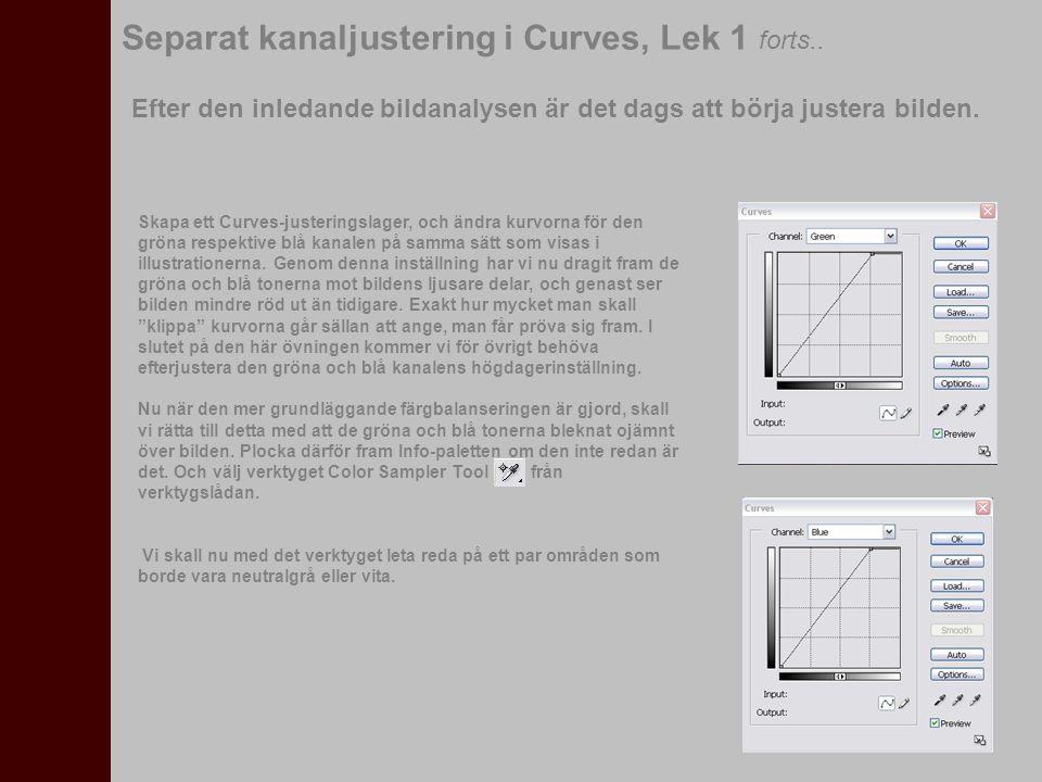 Separat kanaljustering i Curves, Lek 1 forts.. Efter den inledande bildanalysen är det dags att börja justera bilden. Skapa ett Curves-justeringslager