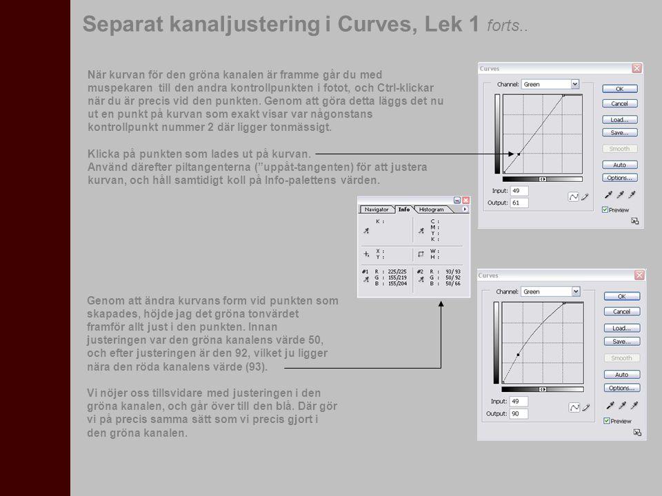 Separat kanaljustering i Curves, Lek 1 forts.. När kurvan för den gröna kanalen är framme går du med muspekaren till den andra kontrollpunkten i fotot