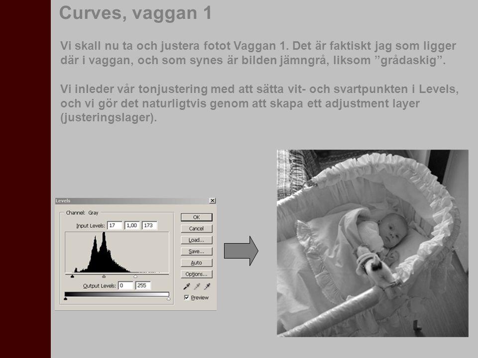 """Curves, vaggan 1 Vi skall nu ta och justera fotot Vaggan 1. Det är faktiskt jag som ligger där i vaggan, och som synes är bilden jämngrå, liksom """"gråd"""