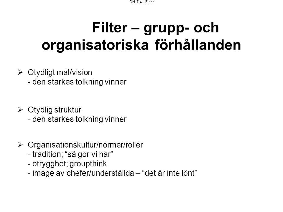 OH 7.4 - Filter Filter – grupp- och organisatoriska förhållanden  Otydligt mål/vision - den starkes tolkning vinner  Otydlig struktur - den starkes