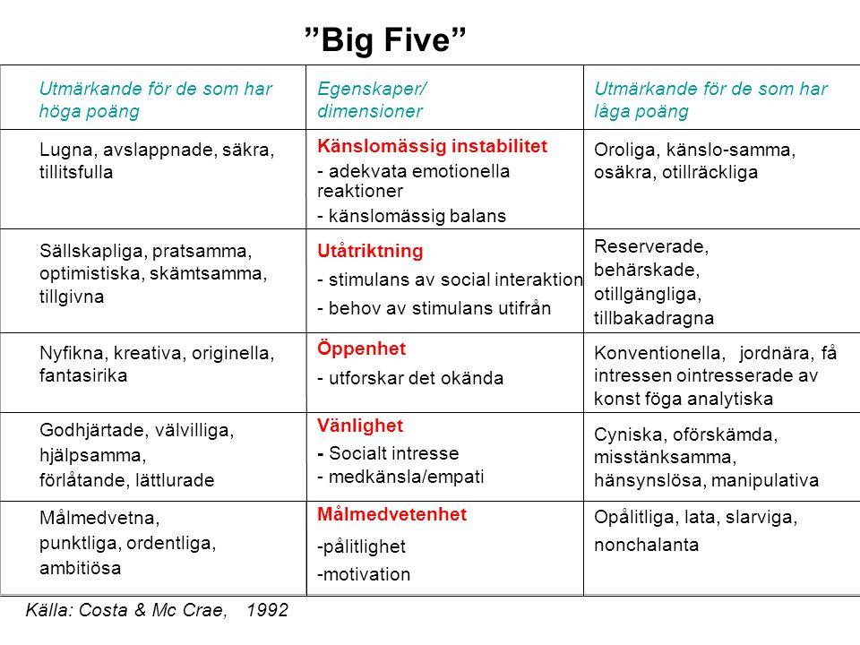 """""""Big Five"""" Lugna, avslappnade, säkra, tillitsfulla Utmärkande för de som har höga poäng Egenskaper/ dimensioner Utmärkande för de som har låga poäng K"""