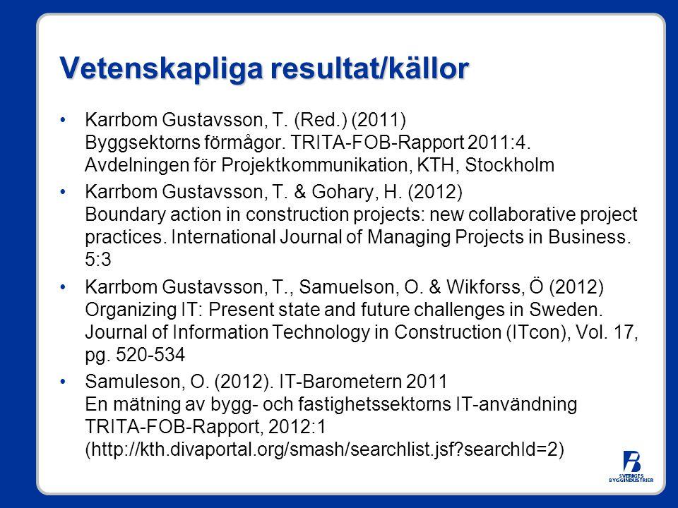 Vetenskapliga resultat/källor •Karrbom Gustavsson, T.