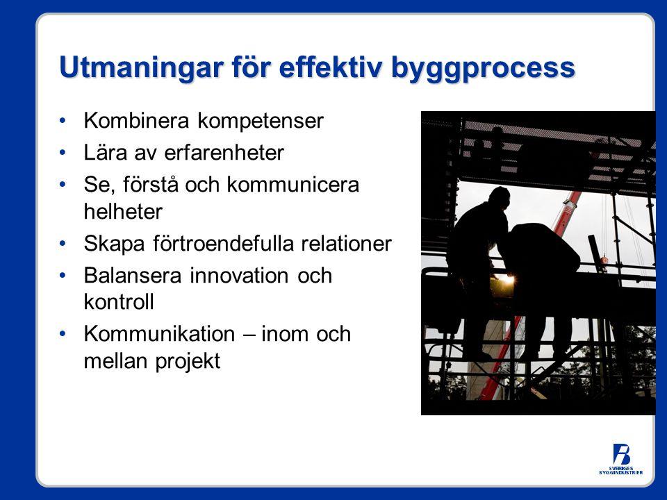 Utmaningar för effektiv byggprocess •Kombinera kompetenser •Lära av erfarenheter •Se, förstå och kommunicera helheter •Skapa förtroendefulla relationer •Balansera innovation och kontroll •Kommunikation – inom och mellan projekt