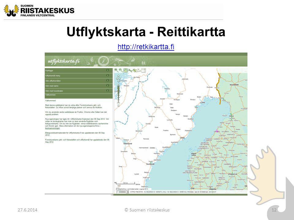 Utflyktskarta - Reittikartta 27.6.2014© Suomen riistakeskus12 http://retkikartta.fi © Maanmittauslaitos, lupa nro 053/MML/11 Pohjakartta © Maanmittaus