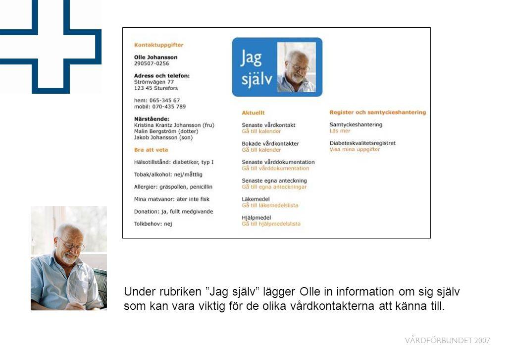 """VÅRDFÖRBUNDET 2007 Under rubriken """"Jag själv"""" lägger Olle in information om sig själv som kan vara viktig för de olika vårdkontakterna att känna till."""