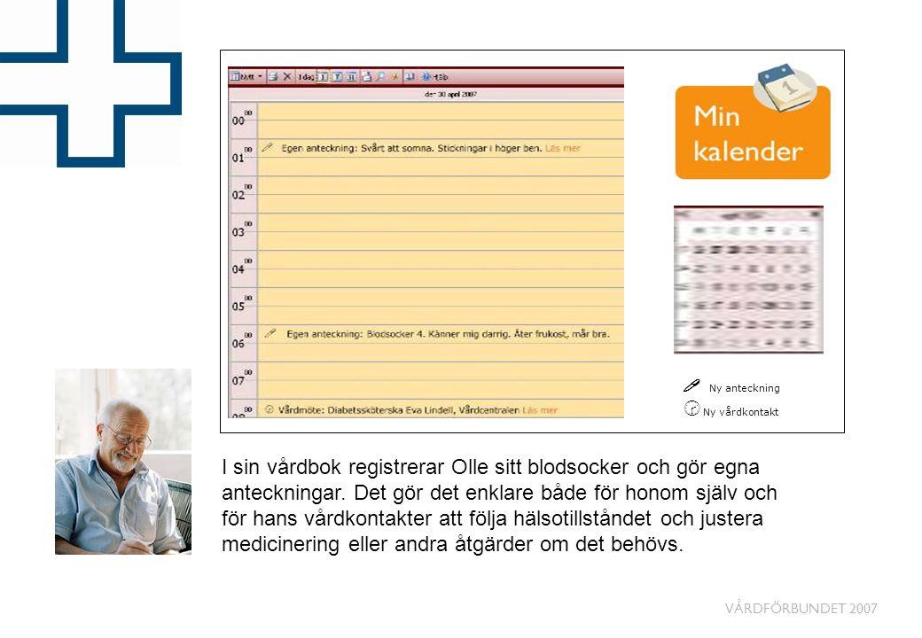 VÅRDFÖRBUNDET 2007 I sin vårdbok registrerar Olle sitt blodsocker och gör egna anteckningar. Det gör det enklare både för honom själv och för hans vår