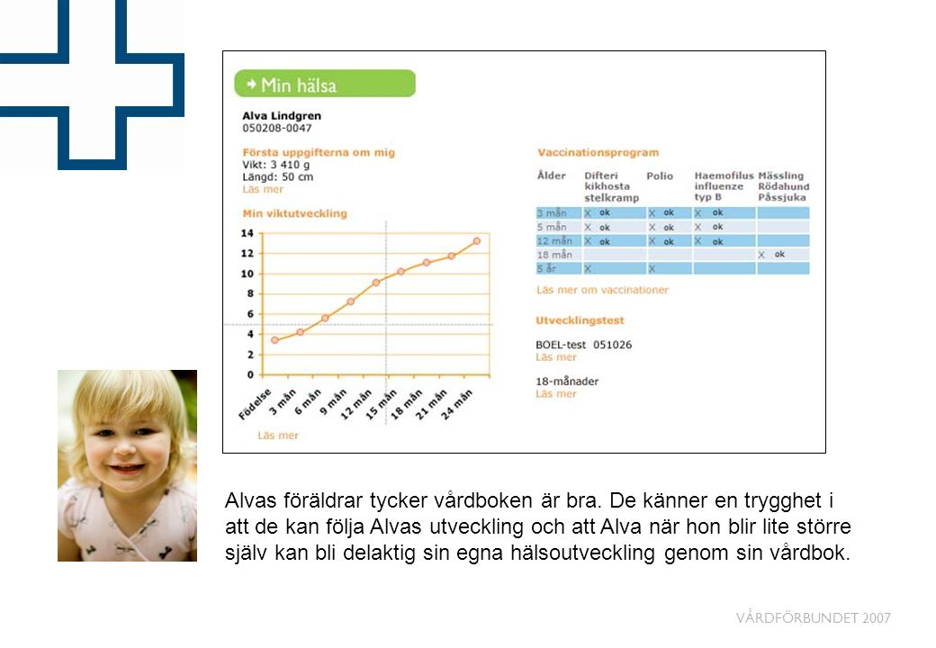 VÅRDFÖRBUNDET 2007 Alvas föräldrar tycker vårdboken är bra. De känner en trygghet i att de kan följa Alvas utveckling och att Alva när hon blir lite s