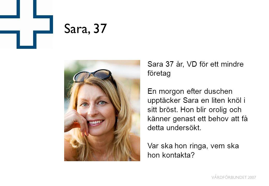 VÅRDFÖRBUNDET 2007 Sara, 37 Sara 37 år, VD för ett mindre företag En morgon efter duschen upptäcker Sara en liten knöl i sitt bröst. Hon blir orolig o