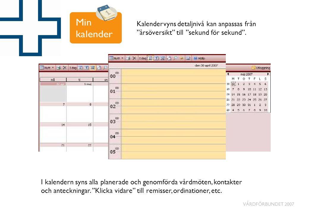 """VÅRDFÖRBUNDET 2007 I kalendern syns alla planerade och genomförda vårdmöten, kontakter och anteckningar. """"Klicka vidare"""" till remisser, ordinationer,"""