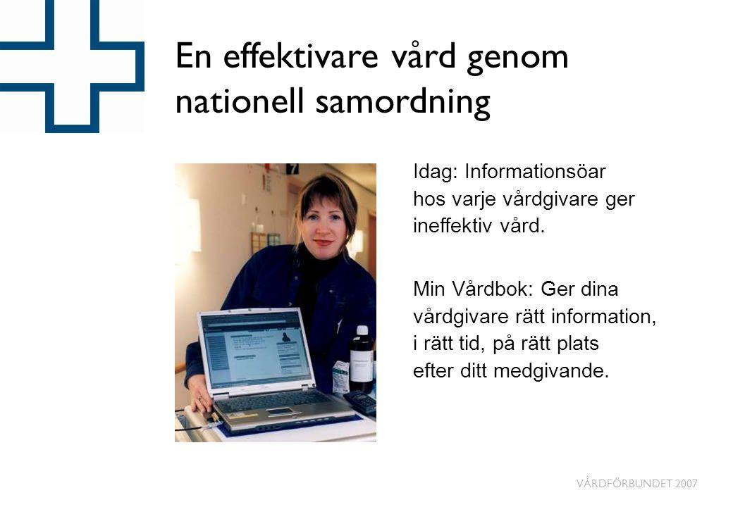 VÅRDFÖRBUNDET 2007 En effektivare vård genom nationell samordning Idag: Informationsöar hos varje vårdgivare ger ineffektiv vård.