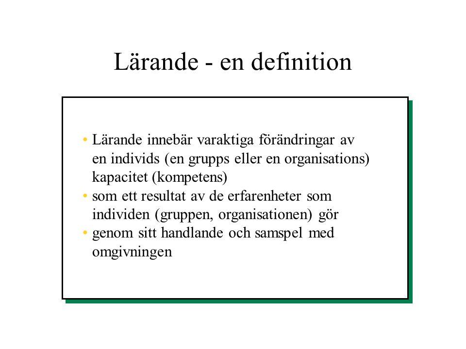 Lärande - en definition •Lärande innebär varaktiga förändringar av en individs (en grupps eller en organisations) kapacitet (kompetens) •som ett resul