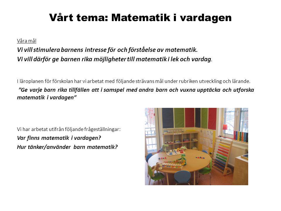 Vårt tema: Matematik i vardagen Våra mål Vi vill stimulera barnens intresse för och förståelse av matematik. Vi vill därför ge barnen rika möjligheter