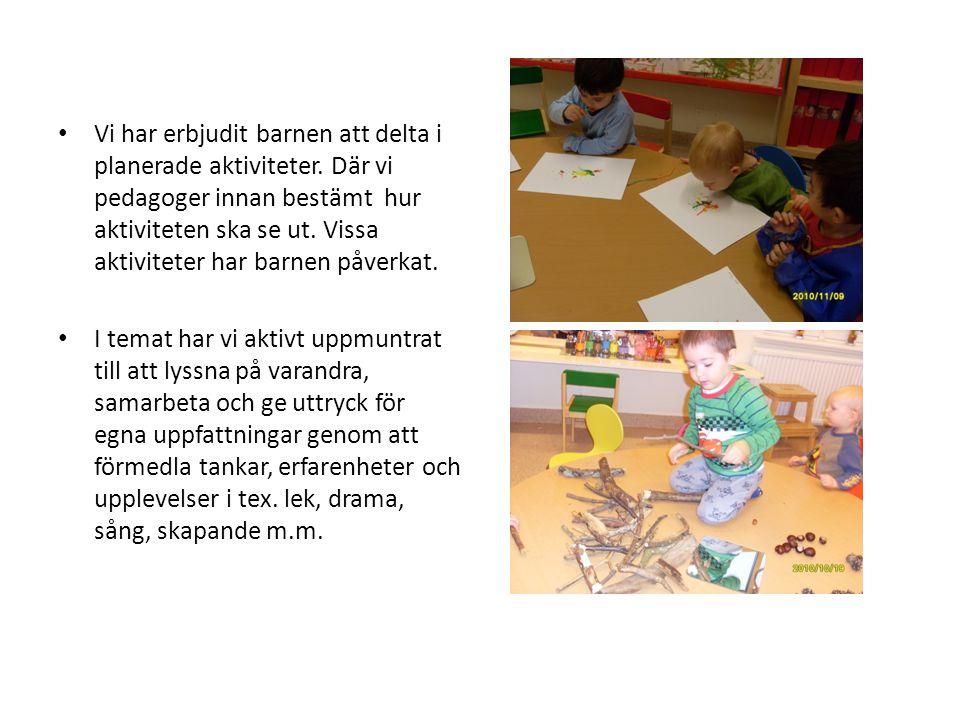 • Vi har erbjudit barnen att delta i planerade aktiviteter. Där vi pedagoger innan bestämt hur aktiviteten ska se ut. Vissa aktiviteter har barnen påv