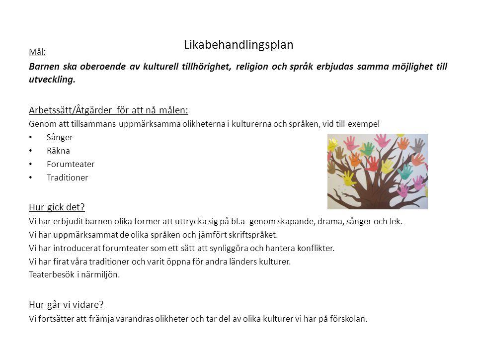 Likabehandlingsplan Mål: Barnen ska oberoende av kulturell tillhörighet, religion och språk erbjudas samma möjlighet till utveckling. Arbetssätt/Åtgär