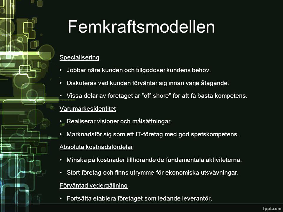 Femkraftsmodellen Specialisering •Jobbar nära kunden och tillgodoser kundens behov. •Diskuteras vad kunden förväntar sig innan varje åtagande. •Vissa