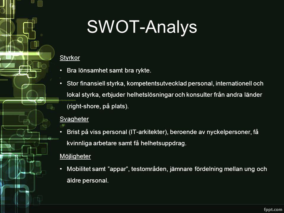 SWOT-Analys Styrkor •Bra lönsamhet samt bra rykte. •Stor finansiell styrka, kompetentsutvecklad personal, internationell och lokal styrka, erbjuder he