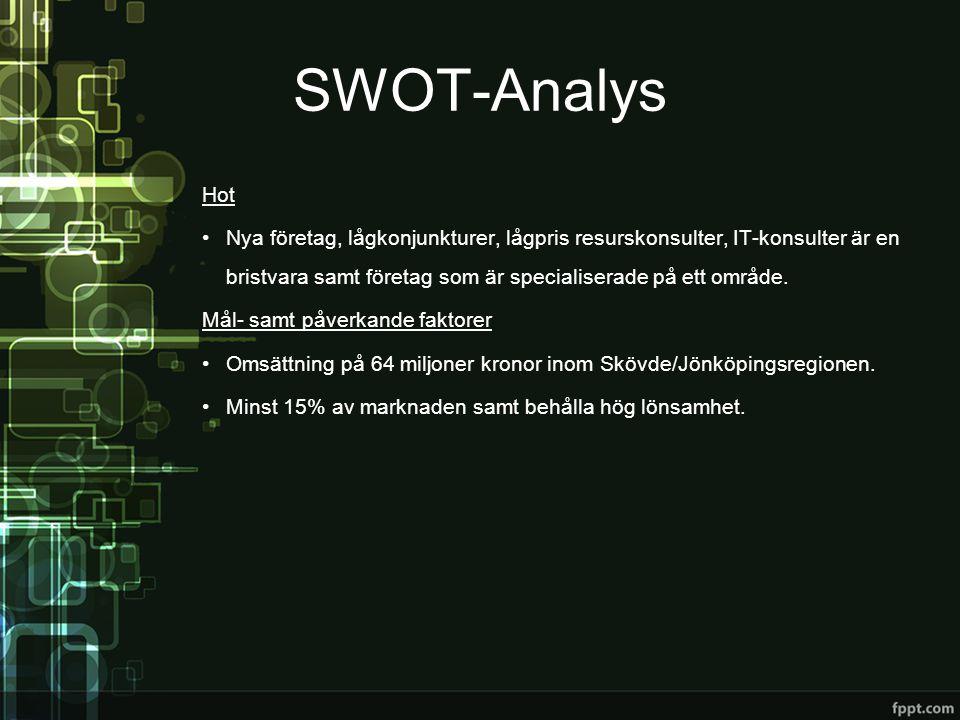 SWOT-Analys Hot •Nya företag, lågkonjunkturer, lågpris resurskonsulter, IT-konsulter är en bristvara samt företag som är specialiserade på ett område.