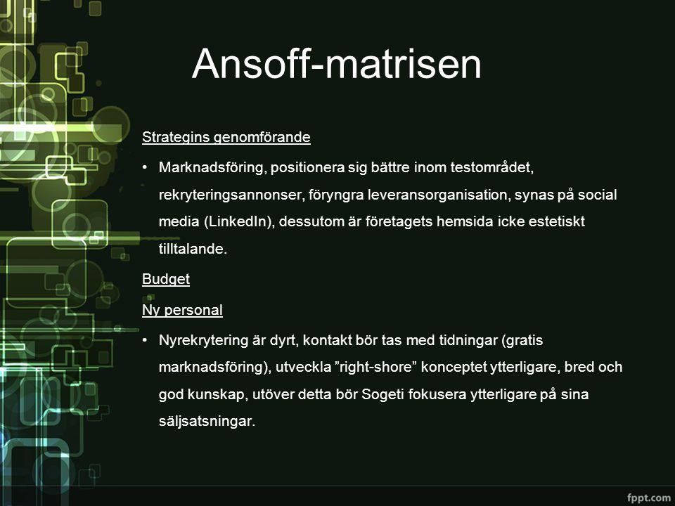 Ansoff-matrisen Strategins genomförande •Marknadsföring, positionera sig bättre inom testområdet, rekryteringsannonser, föryngra leveransorganisation,