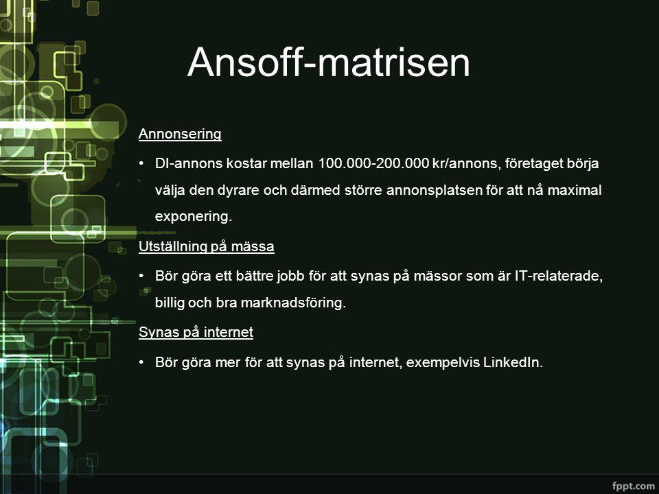 Ansoff-matrisen Annonsering •DI-annons kostar mellan 100.000-200.000 kr/annons, företaget börja välja den dyrare och därmed större annonsplatsen för a