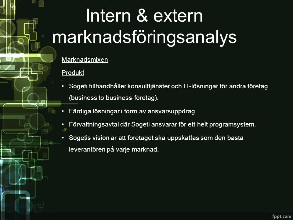 Intern & extern marknadsföringsanalys Marknadsmixen Pris •Sogeti erbjuder omfattande tjänster, som i de flesta fall är dyra.