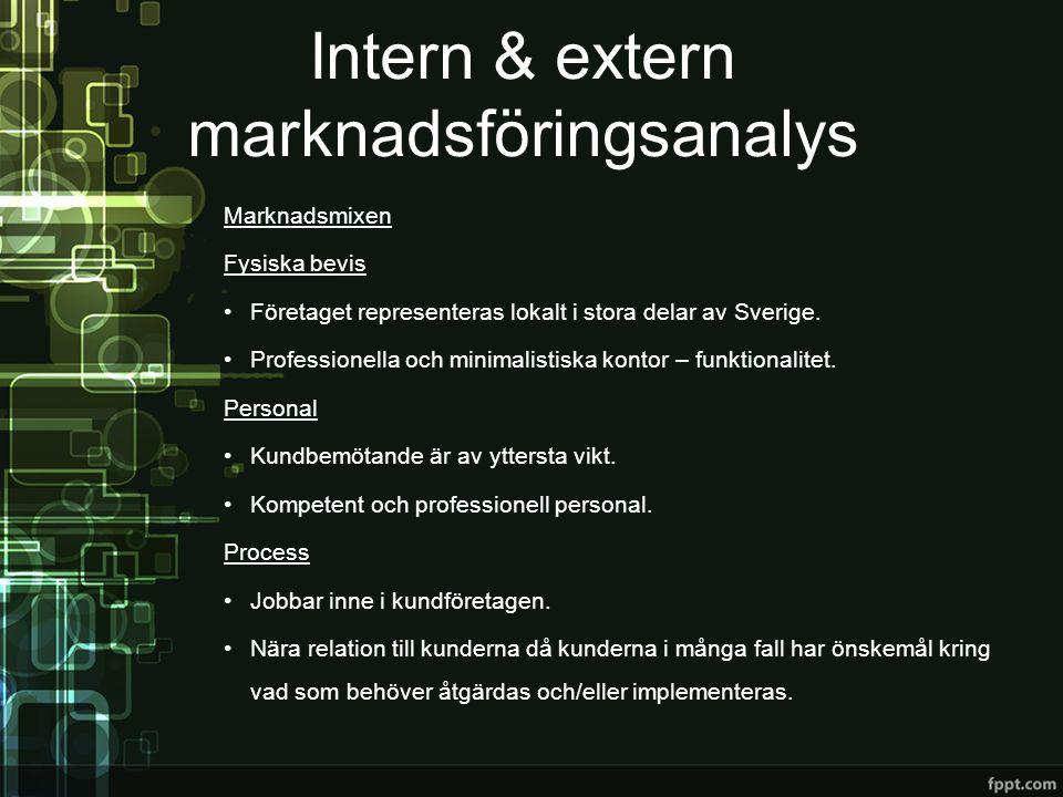Marknadsmixen Fysiska bevis •Företaget representeras lokalt i stora delar av Sverige. •Professionella och minimalistiska kontor – funktionalitet. Pers