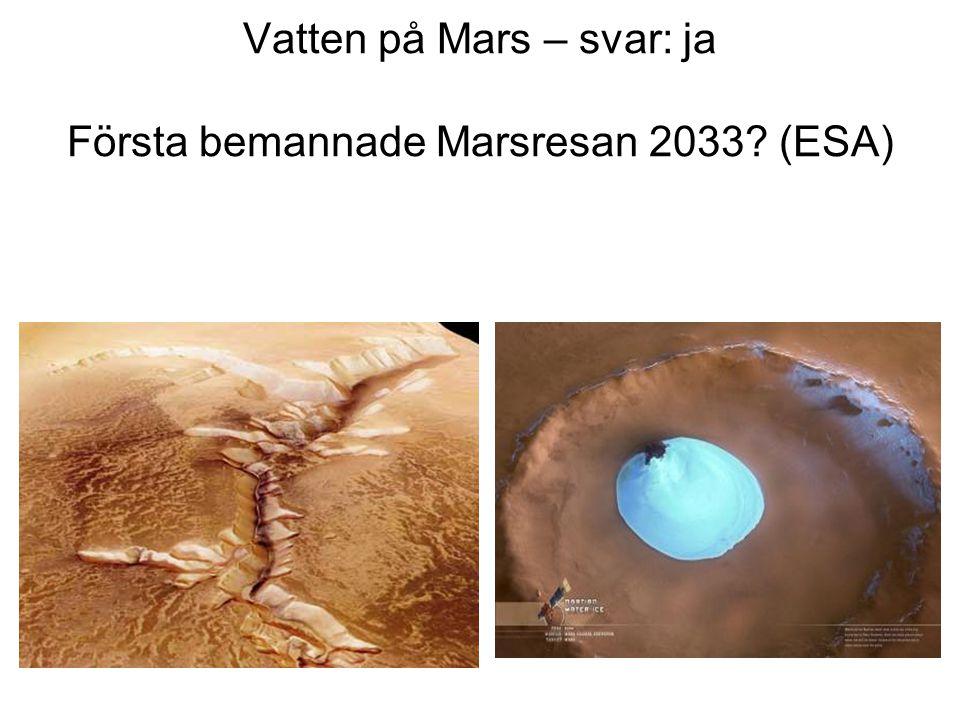 Vatten på Mars – svar: ja Första bemannade Marsresan 2033? (ESA)