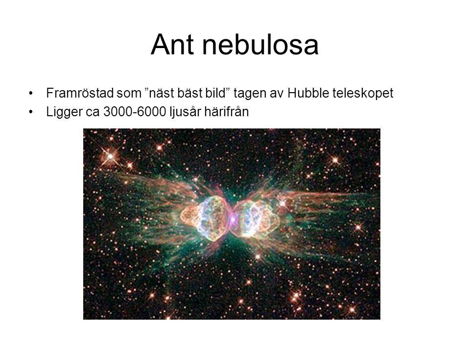 """Ant nebulosa •Framröstad som """"näst bäst bild"""" tagen av Hubble teleskopet •Ligger ca 3000-6000 ljusår härifrån"""