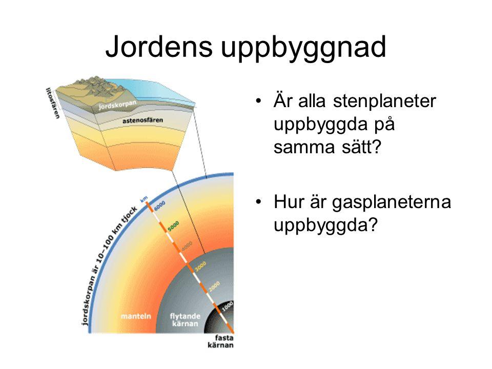 Jordens uppbyggnad •Är alla stenplaneter uppbyggda på samma sätt? •Hur är gasplaneterna uppbyggda?