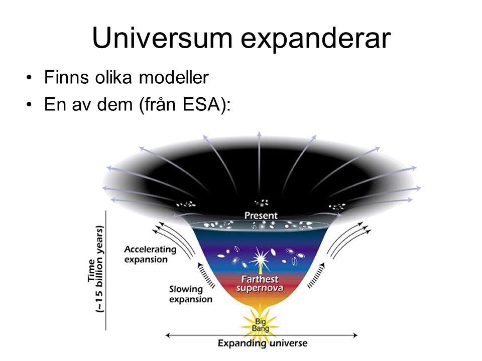 Universum expanderar •Finns olika modeller •En av dem (från ESA):